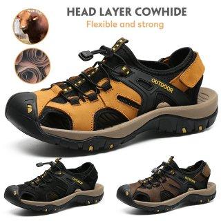 Sepatu Sandal Anti Selip Bahan Kulit untuk Pria