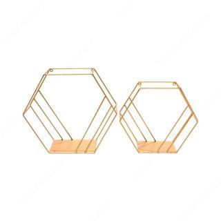 Rak Dinding Metal Hexagon 2 Pcs