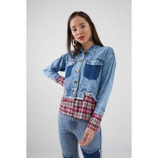 Berrybenka Decco Plaid Jacket Blue Pink