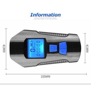 TaffSPORT Lampu Klakson Sepeda LCD Waterproof+Speedometer XA-585