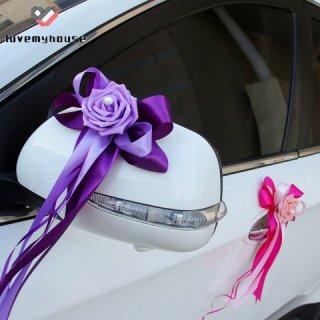Hiasan Mobil Pengantin Pita Bunga 3D Warna Polos