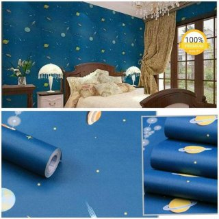 Wallpaper Dinding Motif Galaxy Biru Planet Angkasa