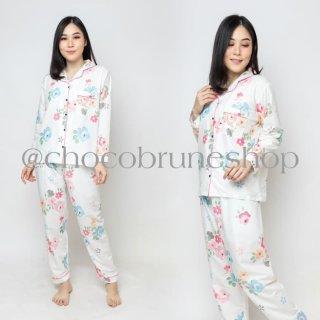 Piyama Wanita Baju Tidur Cewek Setelan Lengan Panjang Motif Bunga Lucu
