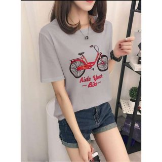 BC043 - Tshirt Wanita / Tmblr Tee / Kaos Wanita Lady Bicycle - Ride Your Bike