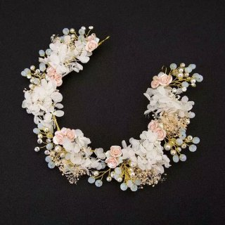 Headpiece Bunga Keramik Aksesoris Pengantin Pesta Hijab dan Non Hijab