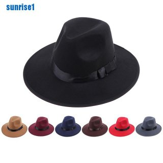 Topi Fedora Trilby Panama Lebar Bahan Felt Keras Gaya Vintage Untuk Pria Dan Wanita