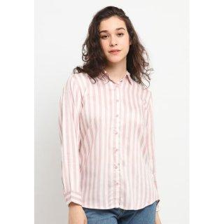 Osella Baju Perempuan Kemeja Lengan Panjang Stripe Peach