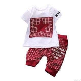 BABYSMILE Baju Bayi Laki-Laki : Model Lengan Pendek Motif Pentacle Cetak Dilengkapi Celana
