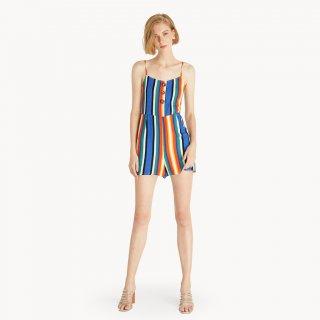 Pomelo Stripe Buttoned Romper Playsuit & Jumpsuit
