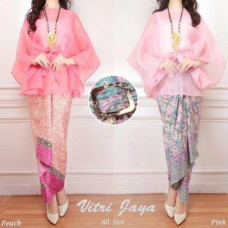 Setelan Kebaya Blouse Organza Peach and Pink
