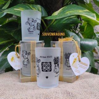 Souvenir Gelas Beling Dove Kemas Mika Custom Nama