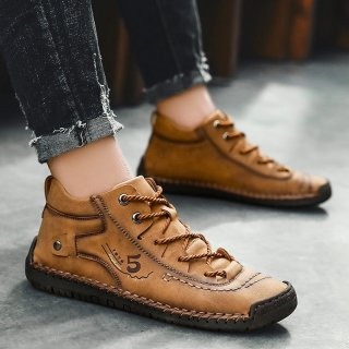 Men Martin Shoes Large Size Casual Shoes Soft Flat High-top Lace-up Male Shoes