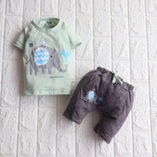 Setelan Baju Bayi 3-12 Bulan / Baju Anak Laki-laki /Baju Little Gentleman Motif Gajah IA3