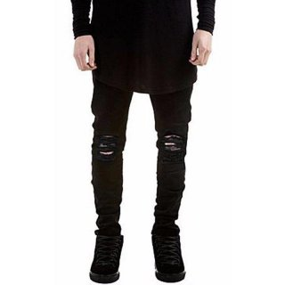IIT Mens Stylish Ripped Jeans Casual Solid Slim Fit Tapered Leg Pants