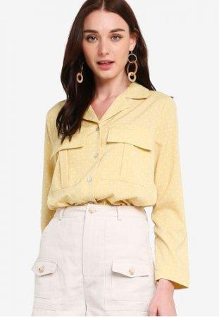 Zalora Pocket Detail Long Sleeves Shirt