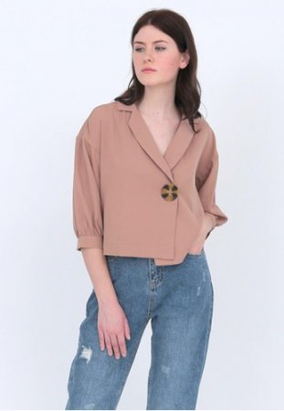 Odiva Woman Aster Button Blouse Beige