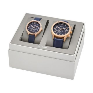 Fossil BQ 2186 Couple Set Watch Navy Leather Strap