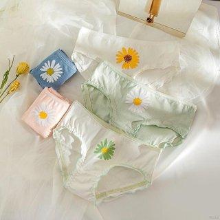 Celana Dalam Wanita Model Mid Waist Bahan Katun Motif Bunga Daisy