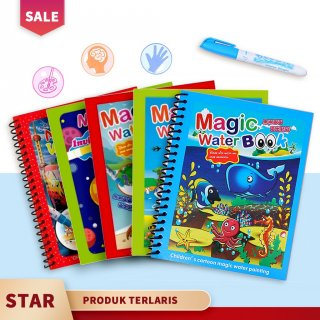 Magic Water Coloring Book/Buku Mewarnai Anak Spidol Air/Invisible Ink