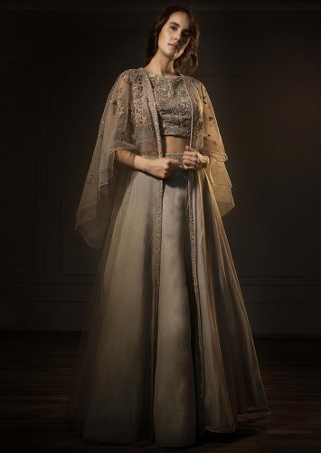 b26d0c3a Grey Organza Lehenga and Embroidered Crop Top with Fancy Cape Jacket from  Kalki