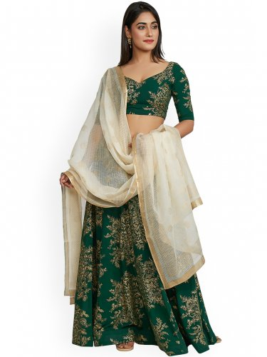 e925ee7bd Green   Gold-Toned Printed Ready to Wear Lehenga from myntra.com is a great  option. It is available in all sizes from S to 3XL. The lehenga and choli  are ...