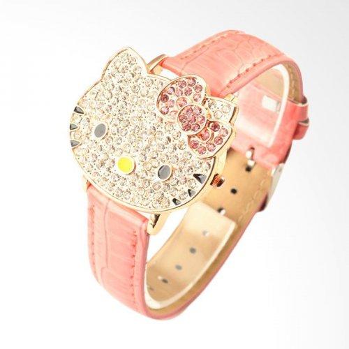 Hello Kitty XM005F Clamshell Cartoon Dial Crystal Children Watch Jam Tangan  Anak Perempuan - Pink 64aa47ad68