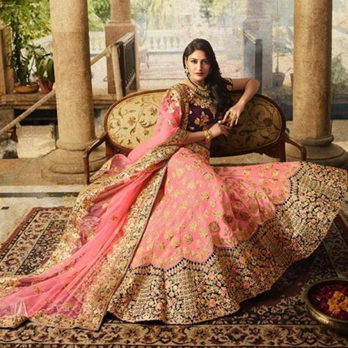 437133a8e Staring Pink Coloured Designer Partywear Embroidered Paper Silk Lehenga  Choli. Source peachmode.com