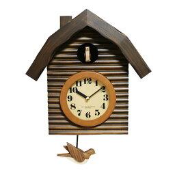 鳩時計 【 送料無料 あす楽 】 鳩時計 壁掛け時計 おしゃれ 北欧 さんてる 木製 ロッジハウス アンティーク 掛け時計 柱時計 日本製 ギフト プレゼント インテリア ナイトセンサー リビング レトロ