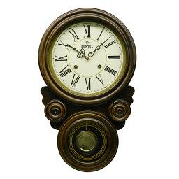 振り子時計 振り子 時計 壁掛け 木製 ブラウン 八角形 だるま 四つ丸 四つ目 ボンボン時計 ぼんぼん 日本製 ギフト プレゼント アンティーク レトロ インテリア リビング