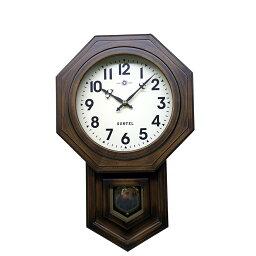 振り子時計 振り子 時計 壁掛け 木製 八角 ブラウン ボンボン ぼんぼん 振り子時計 日本製 ギフト プレゼント アンティーク レトロ インテリア リビング