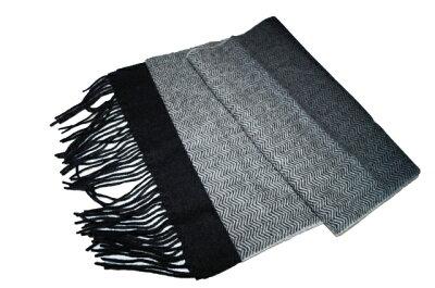 コムサイズム COMME CA ISM マフラー ウール100% ブラック グラデーション ヘリンボーン メンズ 冬物 黒 防寒 保温