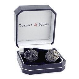 カフス 時計 カフス カフスボタン TOKEN & ICONS 機械時計ムーブメント シルバー925 カフリンクスメンズアクセサリーの通販ギフト プレゼント お祝い 結婚式 ビジネス 新生活 父の日 彼氏 夫