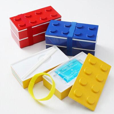 ブロック弁当箱IPN100624◆ブロック弁当箱(保冷剤付き)◆レッド/イエロー/ブルー◆プライムナカムラ