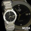 ムスク 腕時計(メンズ) 腕時計 メンズ 人気 ムスク MUSK タングステン ドームガラス デイト付 ブラック×シルバー ベルト調整工具付き 送料無料