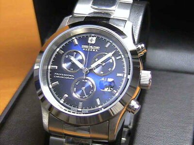 スイスミリタリー 腕時計 エレガント クロノ ML245 メンズ 40mm  【文字盤カラー ブルー】 ☆日本全国=北は北海道、南は沖縄まで送料580円でお届けけします☆