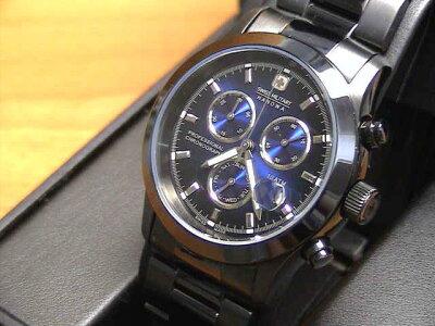 スイスミリタリー腕時計ML248メンズ40mm PVD ブラック クロノ 【文字盤カラー ブルー】