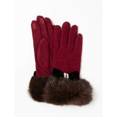 パールリボン毛付き手袋/セシルマクビー(CECIL McBEE)