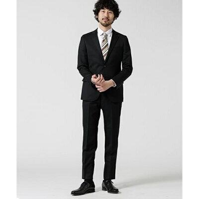 【WEB限定】【Dresspresso】スーツ+ソリッド+スリム+ブラック/ナノ・ユニバース(メンズ)(nano universe)
