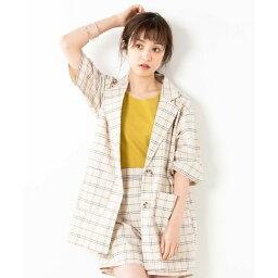 ウィゴー アウター レディース セットアップ5分袖チェックシャツジャケット/ウィゴー(レディース)(WEGO)