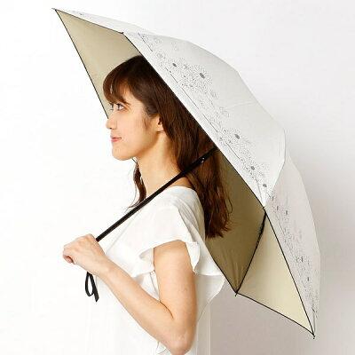 【折りたたみ日傘 3段折】【遮光&UV遮蔽率99%以上/遮熱】ドット&裾マーガレット柄 晴雨兼用/ランバンオンブルー(傘)(LANVIN en Bleu(umbrella))