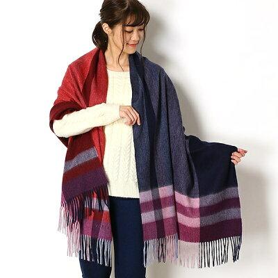 【ビックサイズ】ウール100%紡毛チェックストール/フルラ(ネックウェア・帽子)(FURLA)