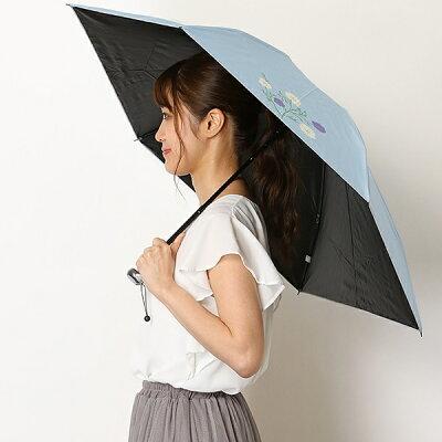 日傘(3段/折りたたみ/晴雨兼用)【遮光&UV遮蔽率99%以上/遮熱】花柄/シビラ