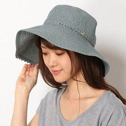 フルラ 帽子 レディース 【UV遮蔽率94.9%以上・サイズ調整OK】手洗いできるペーパーブレード パール調付き広つばハット/フルラ(ネックウェア・帽子)(FURLA)