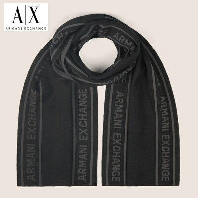 A/X アルマーニ・エクスチェンジ ARMANI EXCHANGE ニットマフラー アメリカ正規店から鵜入 ax663 ブラック