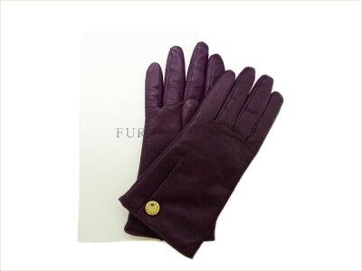 フルラ 手袋 羊革/裏地カシミヤ100% #7 1/2 紫 未使用Sランク