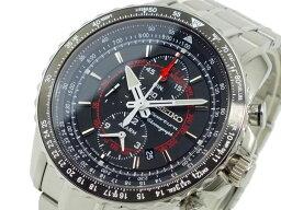 スポーチュラ セイコー SEIKO スポーチュラ 逆輸入 アラーム クロノグラフ メンズ 腕時計 SNAE99P1 ブラック×シルバー メタルベルト