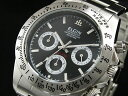 エルジン 腕時計(メンズ) エルジン ELGIN ダイバーズ 腕時計 クロノグラフ メンズ FK1059S-B ブラック×シルバー メタルベルト