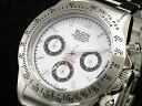 エルジン 腕時計(メンズ) エルジン ELGIN ダイバーズ 腕時計 クロノグラフ メンズ FK1059S-W ホワイト×シルバー メタルベルト