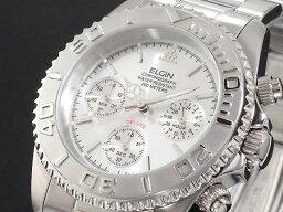 エルジン 腕時計(メンズ) エルジン ELGIN ダイバーズ 腕時計 クロノグラフ メンズ FK1120S シルバー メタルベルト