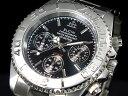 エルジン 腕時計(メンズ) エルジン ELGIN ダイバーズ 腕時計 クロノグラフ メンズ FK1120S-B ブラック×シルバー メタルベルト